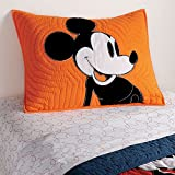 Ethan Allen Disney Color Block Mickey Mouse Sham, Standard, Carrot