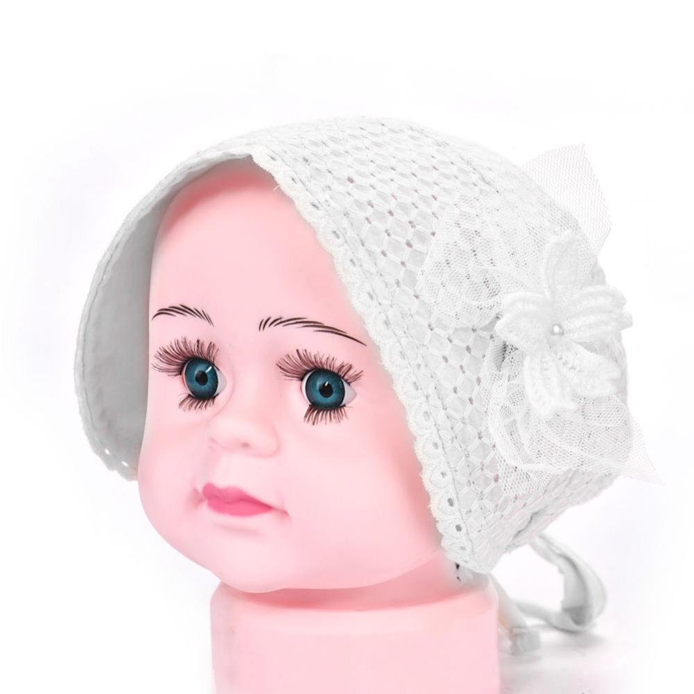 Voberry Cute Baby Soft Breathable Cotton Bonnet Hat Handkerchief with Hem