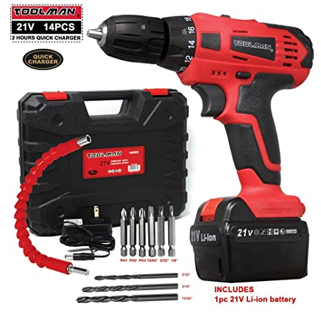 Toolman Cordless Drill Kit 21V with Drill Set 14 pcs for Heavy Duty works  with DeWalt Makita Ryobi Accessories