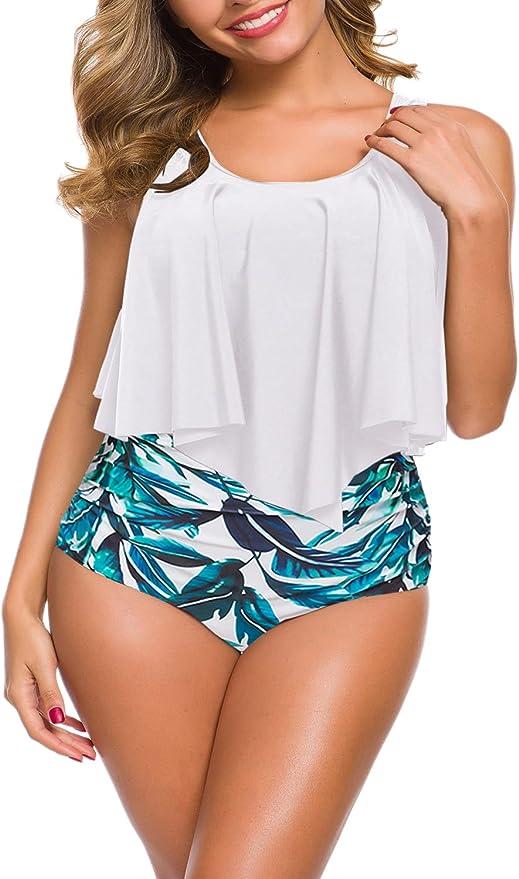 Bikini für große Größen mit High-Waist-Höschen und Wasserfalltop