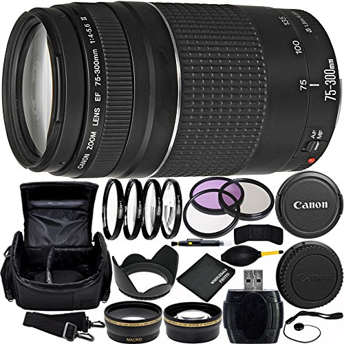 Canon EF 75-300mm f/4-5.6 III Lens Bundle with Manufacturer Accessories & Accessory Kit for EOS 7D Mark II, 7D, 80D, 70D, 60D, 50D, 40D, 30D, 20D, Rebel T6s, T6i, T5i, T4i, SL1, T3i, T6, T5, T3, T2i by Canon