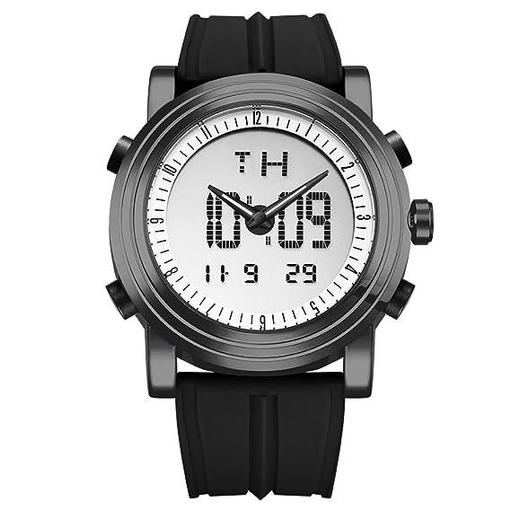 Sinobi para Hombre Reloj de Pulsera Deportivo Cuarzo electrónico Digital Reloj con Alarma Cronómetro Doble Movimiento Hombres de la muñeca Relojes ...