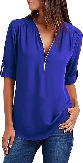 Tuopuda Mujer Blusas y Camisa Cuello V Camisetas Cremallera Gasa Blusas Sueltas Camisas de Manga Larga Ajustable Tops: Amazon.es: Ropa y accesorios