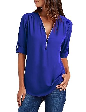 ffa49e31b6be Yuson Girl Camisas Mujer Nuevo Blusas para Mujer Vaquera Sexy Gasa Tops  Camisetas Mujer Cremallera Manga Corta Blusas