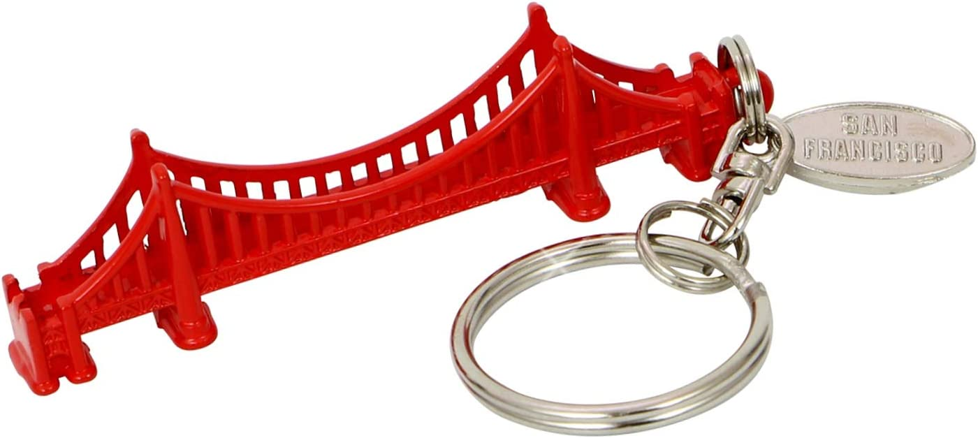 Red San Francisco Golden Gate Bridge 3D Metal Key Chain With Tag 2.75 Inches Long