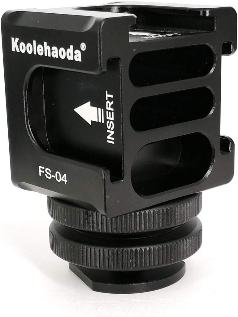 FR-04 Hot Shoe Aluminium Quadruple Cold Shoe Adapter for Lights Microphones koolehaoda Hot Shoe Camera Mount Adapter LED Monitors
