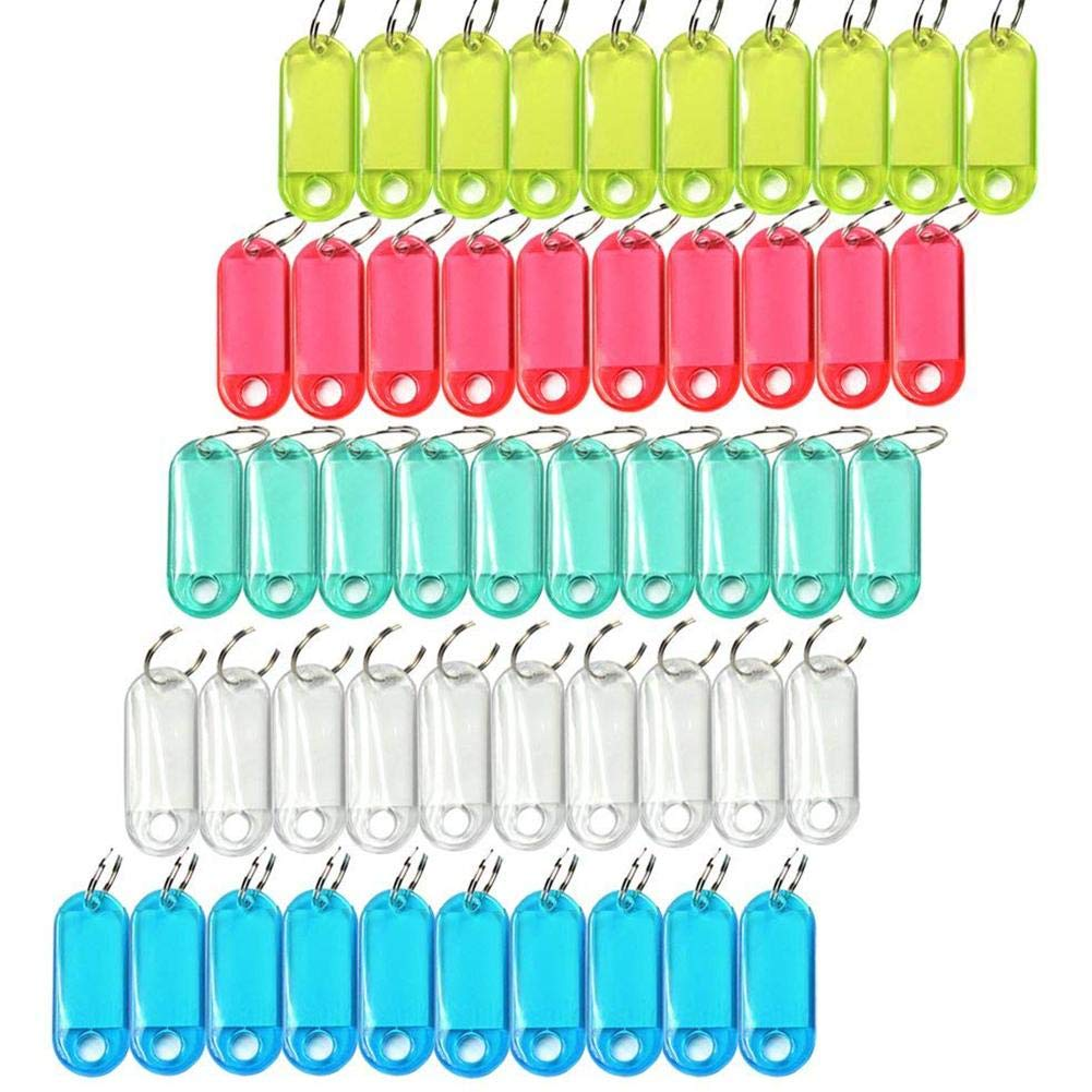 5 Colori 60pcs Plastica Key Chain ID Tag Day Chiavi Di Identificazione Con Split-Ring Finestra Label