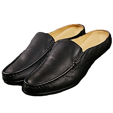 Mens Mules Slippers Clog Classical Leather Slip on Shoes Leisure Loafers