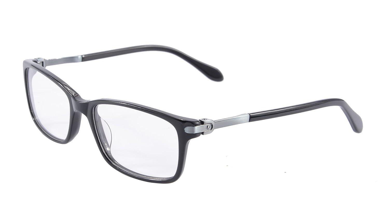 c4831ee9ba Amazon.com  Solid Acetate Glasses Frame for Women Clear Lens Eyeglasses  Flexible Hinge Metal Arm- C6005 (black)  Clothing