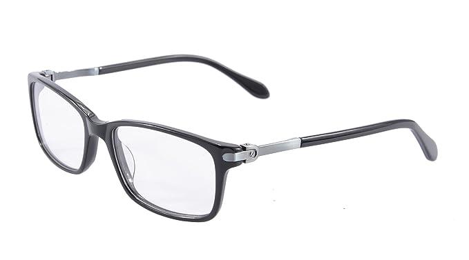 bf225f5a80 Solid Acetate Glasses Frame for Women Clear Lens Eyeglasses Flexible Hinge  Metal Arm- C6005 (