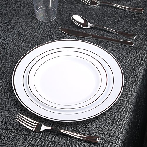 Kaya Collection - White and Silver Disposable Plastic Dinnerware Party Package - 60 Person Package - Includes Dinner Plates, Salad/Dessert Plates, Silver Cutlery and Tumblers (Silver Package)
