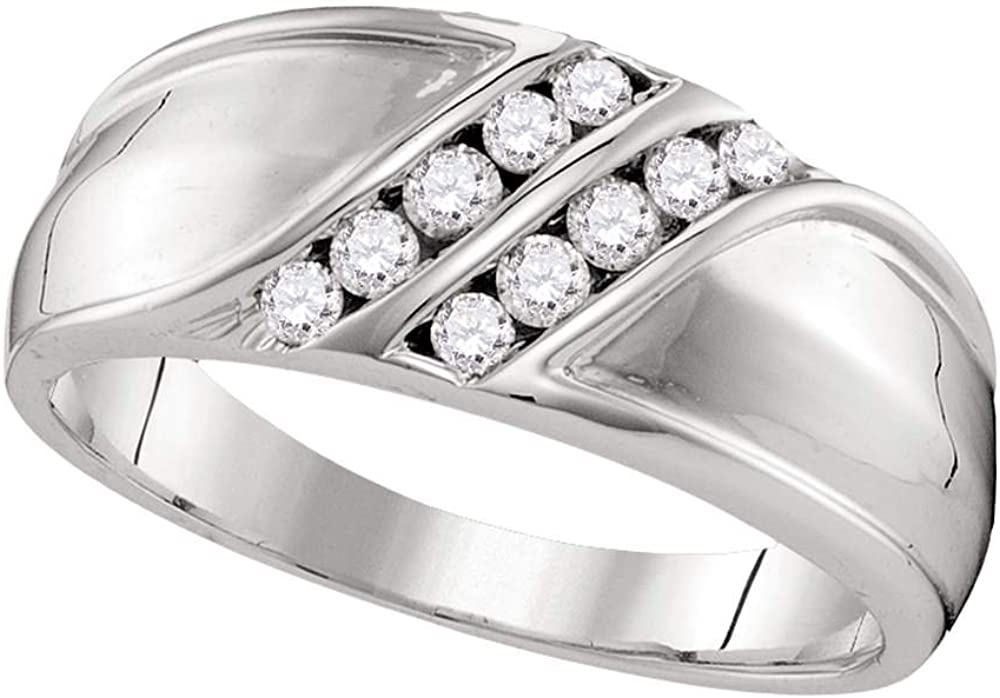 Gemapex Mens Two Row Diamond Wedding Band Solid 10k White Gold