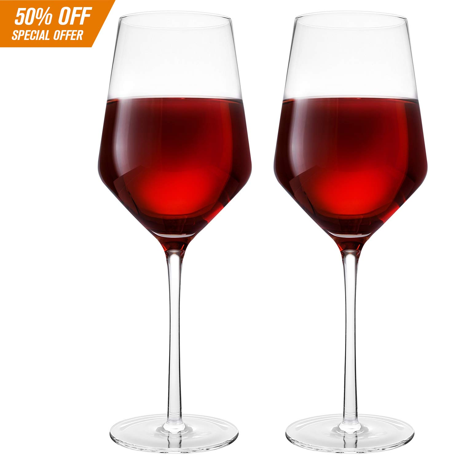 Hand Blown Crystal Wine Glasses - Bella Vino Classy Red/White Wine Glass Made from 100% Lead Free Premium Crystal Glass, 16 Oz, 9'', Perfect for Any Occasion, Great Gift, Set of 2, Clear