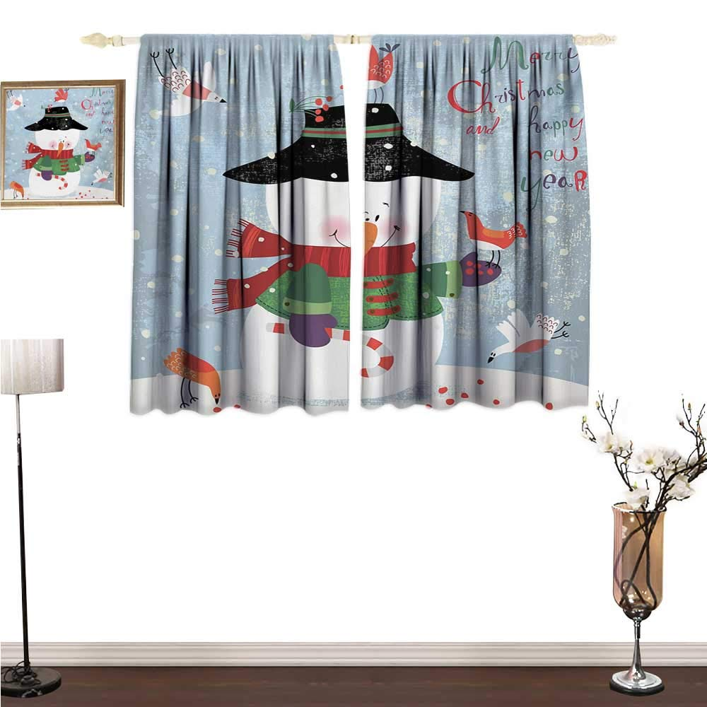 Kitchen Curtains Snowman,Christmas and New Year Theme Lovely Snowman with Birds Candy Cane Grungy Backdrop,Multicolor Window Drapes for Bedroom W72 x G63
