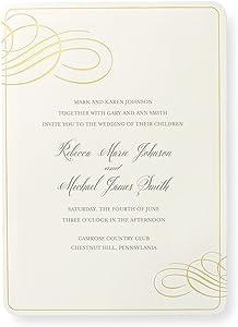 Gold Foil Border Print at Home Wedding Invitation Kit