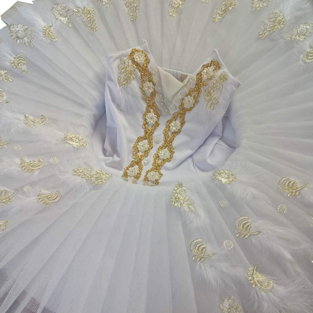 バレエ レオタード 子供 110~170cm 花柄ファー付き キッズ バレエ用品 子ども バレエダンス衣装 レッスン着 ホワイト 白 競技着 新体操 練習着 発表会衣装 B07PQJDGW6 ホワイト 140