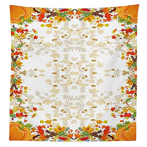 ions Tablecloth Fall Colors Ladybug Maple Leaf Woods Pine Nuts Berries Decor Pattern Rectangular Table Cover for Dining Room Kitchen WhiteYellow Orange ()