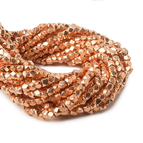 2mm Copper Brushed Faceted Nugget Beads 8 inch 89 Beads ()