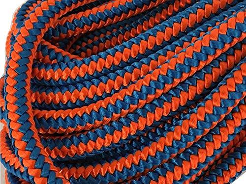 - 12 Strand Polyester Arborist Climbing Rope 1/2 inch, Blue/Orange (100 feet)