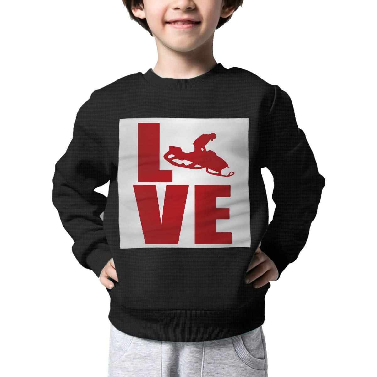 Childrens Love Snowmobile Sweater Boys Girls Outerwear
