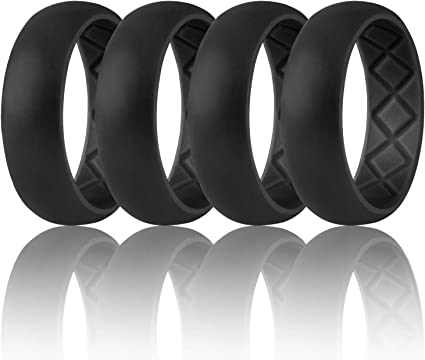 Egnaro Inner Arc Ergonomic Design with Dual Color,Silicone Wedding Ring for Men,Breathable Mens Rubber Wedding Bands for Athletes Fitness Workout