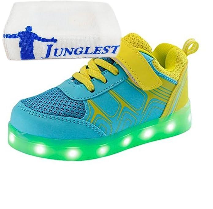 [Present:kleines Handtuch]Grau EU 25, Athletische Sportschuhe JUNGLEST® Bunte mit M?dchen Leuchtet Jungen LED Schuhe Fl?¹gel