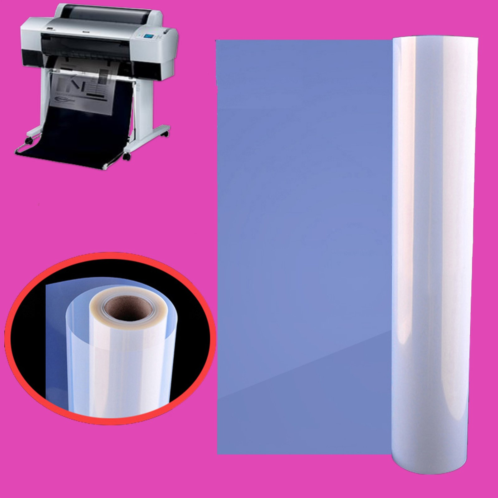 "2 Rolls,24'' x 82',3""core,Waterproof Inkjet Silk Screen Printing Transparency Film"