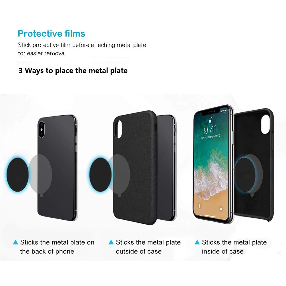 Mount Metal Plates Replacement Kits with 3M Adhensive for magnetic Car Mount Phone Holder 4 Pack 2 Rectangle 2 Round