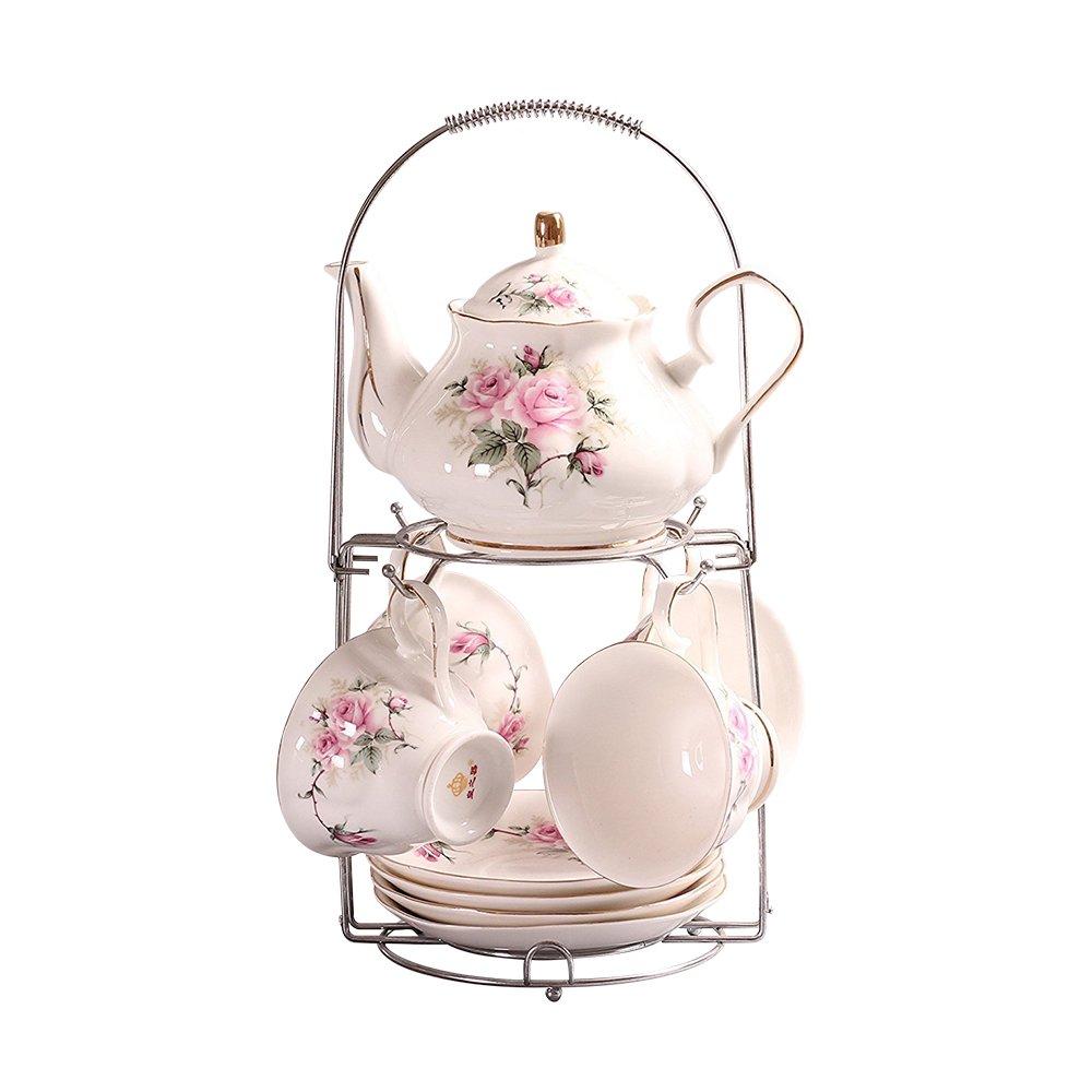 ufengke 9 Piece European Ceramic Tea Set, Bone China Tea Service Coffee Set With Metal Holder, For Wedding And Gift, Pink Camellia Painting Ufingo LEPAC5393
