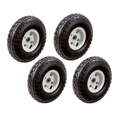 4pc Set Of 10 In. Pneumatic Tires On White Wheel