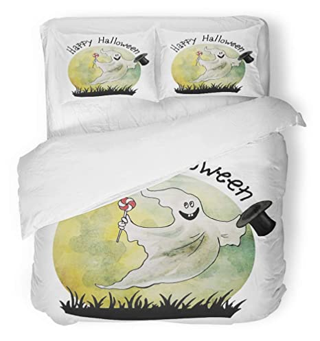 9a7568b71f4eb Emvency 3 Piece Duvet Cover Set Breathable Brushed Microfiber Fabric Cute  Halloween Happy Ghost with Silk