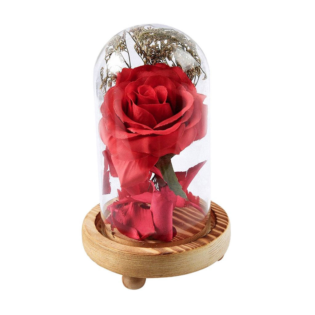 Baoblaze Chic Rose in Glass Dome on a Base for Love Ones Anniversary Birthday Gifts