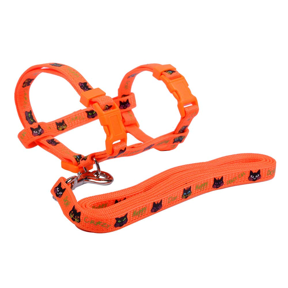 MyfatBOSS Nylon Cat Leash, Adjustable Cat Harness with Leash, for Small and Large Cats Walking (Orange)