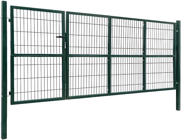 vidaXL Gartentor Gartent/ür Zaunt/ür Hoftor Gartenpforte Zauntor Hoft/ür Gartenzaun Pforte Tor Metalltor Einfahrtstor Stahl 400x125cm Gr/ün