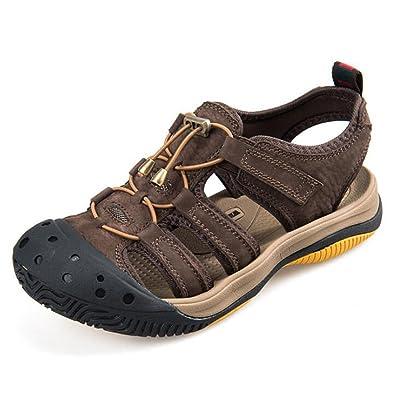 ZHONGST Herren Sommer Sandalen Im Freien Baotou Leder Sandalen Sport Sandalen
