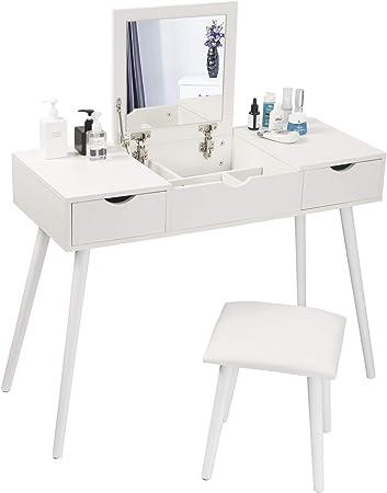 Eugad 0014szt Table De Maquillage Avec 1 Miroir Rabattable Et 2 Tiroirs Coiffeuse Avec Tabouret Meuble Cosmetique Pour Chambre Blanc Amazon Fr Cuisine Maison