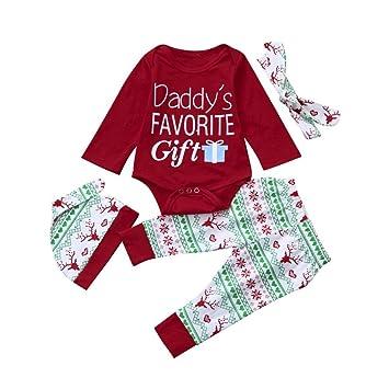 smileq 4pcs Navidad Pelele para bebé niña niño Baby Romper Pantalones Sombrero diadema Navidad traje de ropa, rojo: Amazon.es: Deportes y aire libre