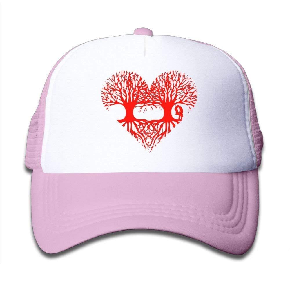 FEAIYEA Valentines Day Tree Lover Mesh Baseball Caps Kids Trucker Hats Boy Girls