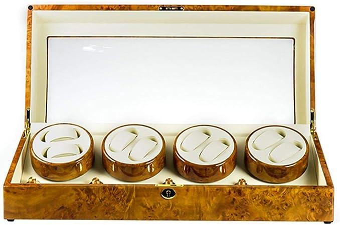GOHHK Mira Enrolladores para Caja PresentacióN AutomáTica 8 Relojes, Estuche AutomáTico para Relojes Estuches para Relojes Estuches para Relojes Estuches Guardar Enrolladores Amarillo: Amazon.es: Hogar