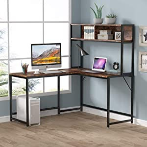 LITTLE TREE 55 Inches L-Shaped Desk with Hutch Bookshelf, Corner Computer Desk for Home Office, Gaming Table Workstation with Storage Bookshelves, Space Saving Designs (Rustic)
