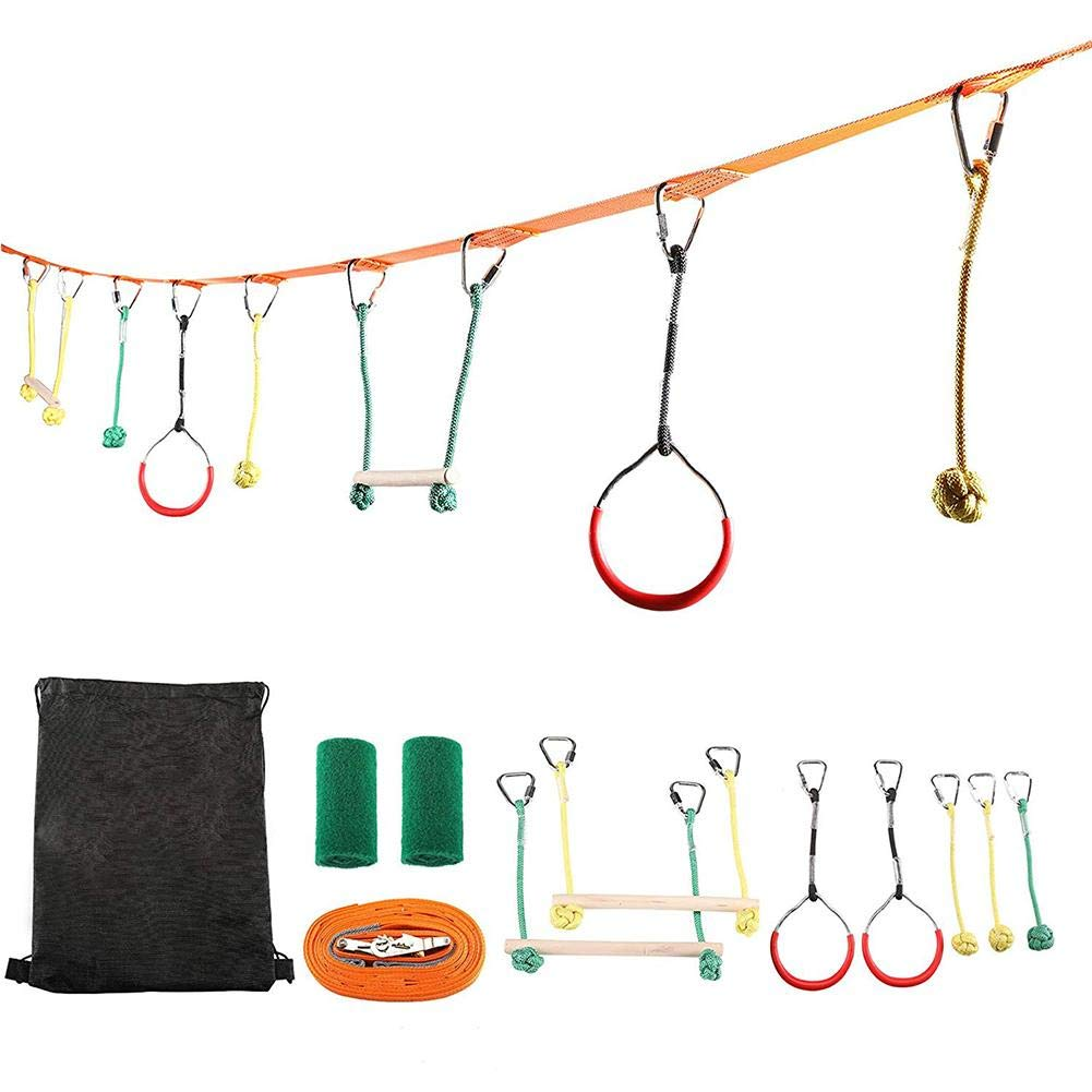 Longshow Children Flying Rings, Children's Obstacles Sling Ring Monkey Pole Outdoor Physical Training Combination Portable 40 Foot Slackline Bar Kit Kids Swinging Course Set Bars Fists Gymnastics