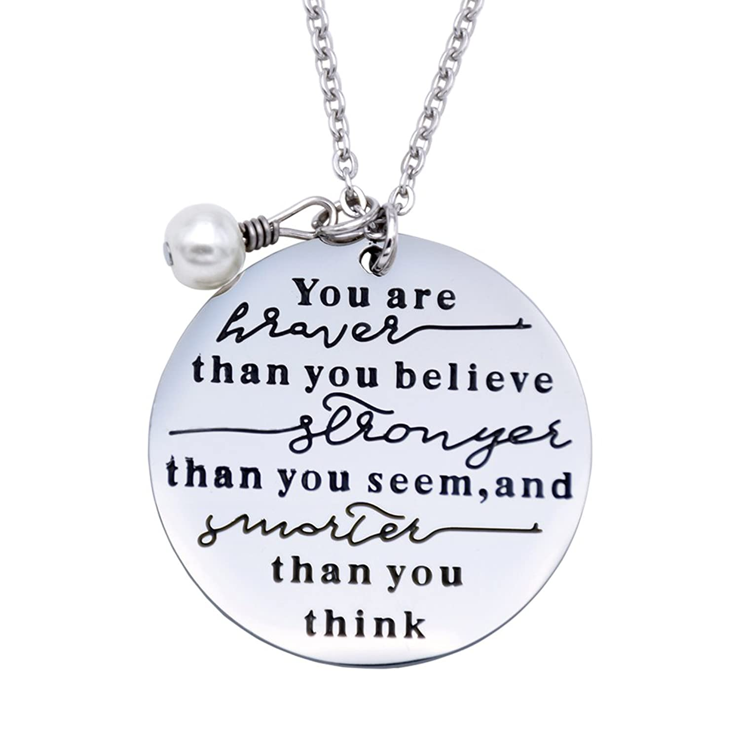 Amazon O RIYA You Are Braver Than You Believe Necklaces