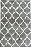 Ottomanson Ultimate Shaggy Collection Moroccan Trellis Design Shag Rug Contemporary Bedroom Soft Shaggy Kids Rugs, Grey, 60