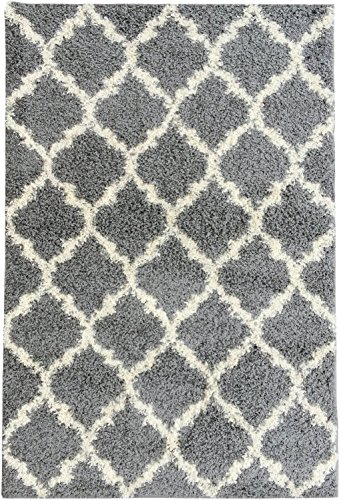 Collection 5 Designs - Ottomanson Ultimate Shaggy Collection Moroccan Trellis Design Shag Rug Contemporary Bedroom Soft Shaggy Kids Rugs, Grey, 60