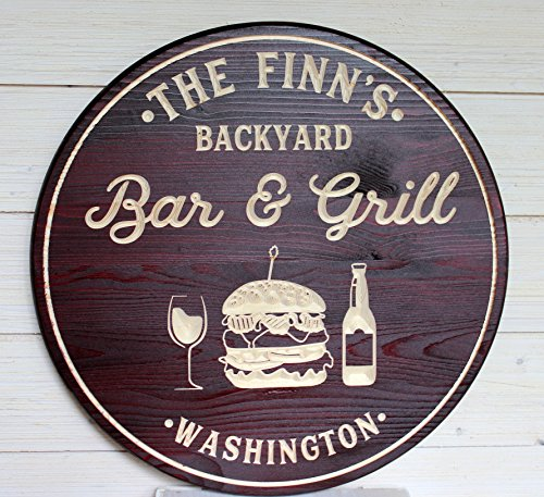 11f0548070 Artis Designs Bar & Grill Sign, Bar Signs, Personalized Bar Sign, Carved  Wood