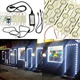 GOESWELL LED Module Light Cool White Super Bright 5630 LED Storefront Windows Kit with Mini RF Controller and 12V Power Package for Advertising Showcase Store Display Letter Sign with Tape Adhesive Ba