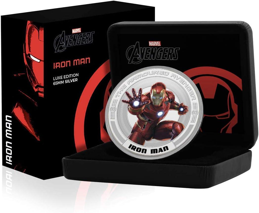 IMPACTO COLECCIONABLES Marvel Los Vengadores Iron Man Edición Luxe - Moneda / Medalla bañada en Plata .999 - 65mm