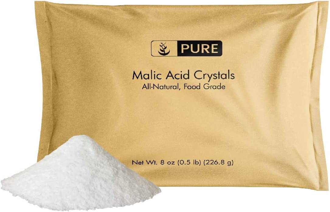 Pure Malic Acid Powder (8 oz, 600 mg per Serving) Boost Energy Production*, Alpha Hydroxy Acid, Help with Muscle Pain & Soreness*, Rejuvenate Skin*