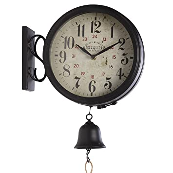 Atmosphera En Face Avec Rétro Applique Métal Horloge Double Murale ZTOXukPiw