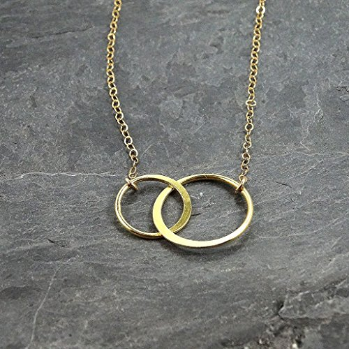 Two Circles Gold Filled Necklace Jewelry Gift for Her